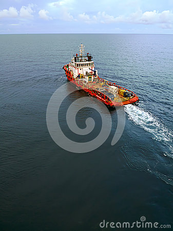 Industrial Crew and Supply Boat for Oil and Gas Offshore Platform Editorial Stock Photo