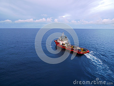 Industrial Crew and Supply Boat for Oil and Gas Of Editorial Photography