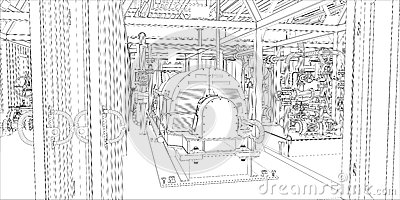Industrial equipment. Wire-frame 3d render