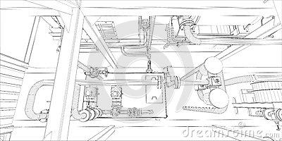 Industrial equipment. Wire-frame 3d render
