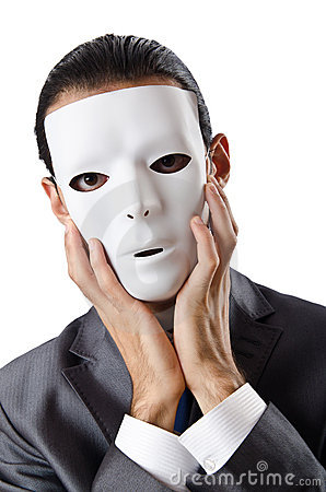 Industrial espionage concept - masked businessman