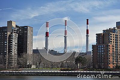 Industrial Factory Chimneys In Queens