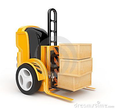 Industrial forklift with  load.  robot 3d