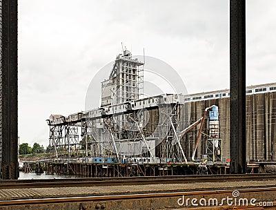 Industrial grain cargo shipping dock terminal