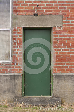 Industrial green door