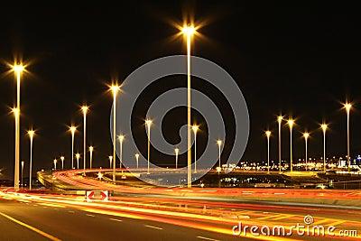 Industrial highway lights in urban area