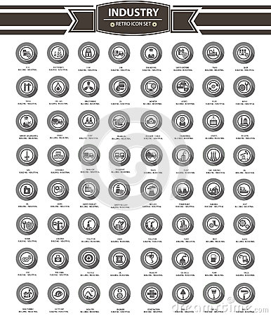 Industrial icon set,gray version