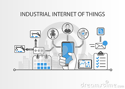 Industrial internet of things or industry 4.0 concept with simple icons on grey background Vector Illustration