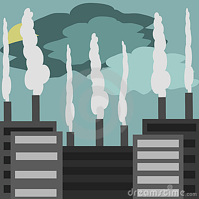 Industrial landscape, factories  with