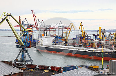 Industrial landscape of Odesa seaport, Ukraine Editorial Stock Photo