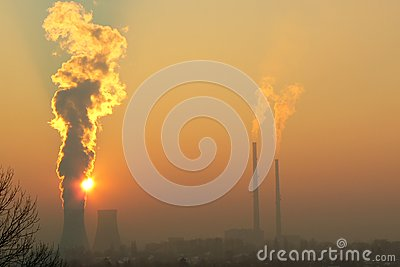 Industrial landscape with smog