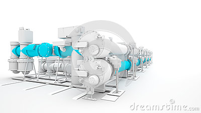 Industrial machinery render on white background