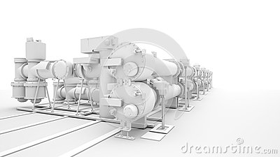 Industrial machinery on white background