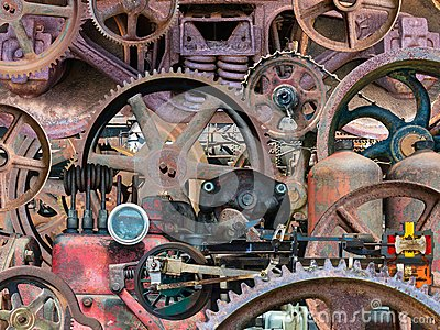 Industrial Mechanical Machine Parts Background Stock Photo