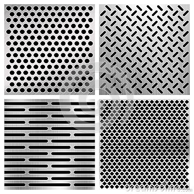 Free Industrial Metal Perforated Vector Textures, Metallic Grids Set Stock Photo - 79309980