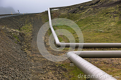 Industrial Pipes at a Geothermal Power Station in Iceland