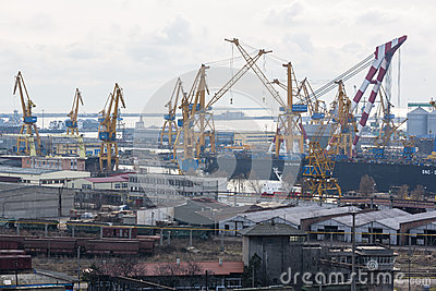Industrial port with cranes Editorial Image