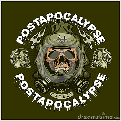 Free Industrial,post-apocalypse Coat Of Arms With Skull, Grunge.vintage Design T-shirts Stock Photos - 78722723