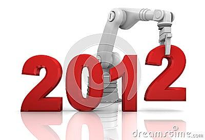 Industrial robotic arm building 2012 year
