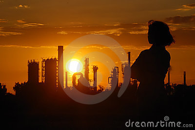 Industrial romantic - oil refinery sunset