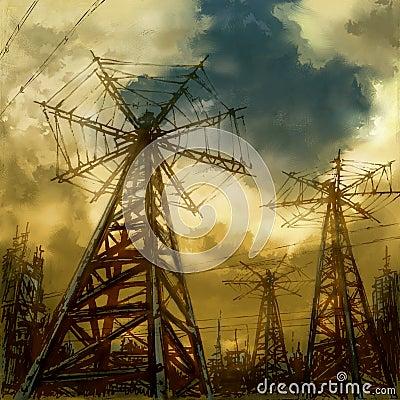 Industrial sci-fi landscape