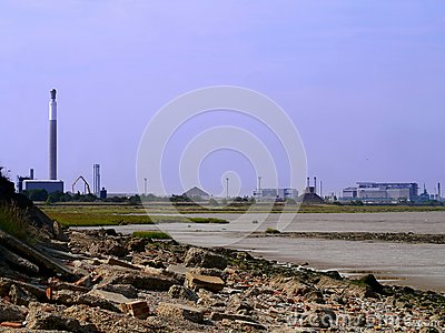 Industrial setting by seashore