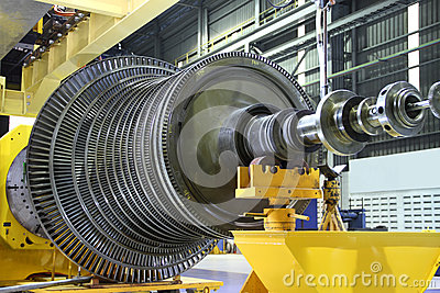 Industrial turbine at the workshop