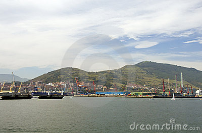 Industrial view in Bilbao port, Spain Editorial Stock Image