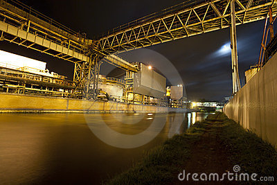 Industrial works at night