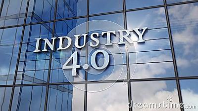 Industrie 4 0 Schild auf Glasspiegelgebäude stock footage