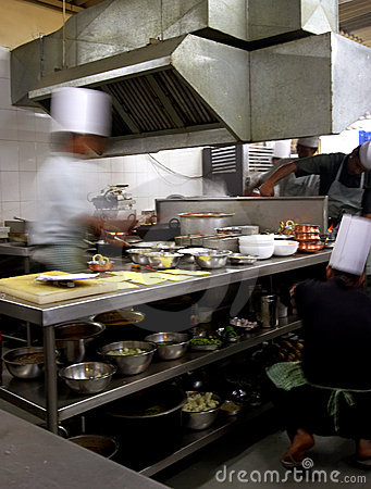 Industry kitchen with motion blur