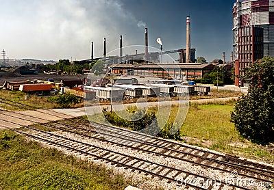 Industry trucks railway co2 chimney industrial