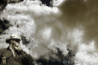 Industry worker and toxic clouds