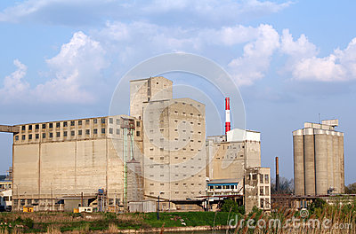 Industry zone with buildings silo