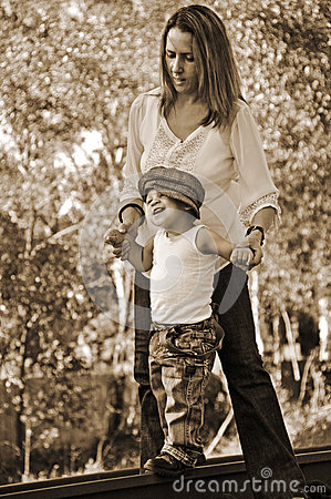 Free Infant Baby Boys First Steps Outdoors With Mother Stock Photography - 34100182
