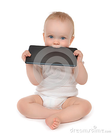 Free Infant Child Baby Toddler Eating Digital Tablet Mobile Computer Royalty Free Stock Image - 40090516