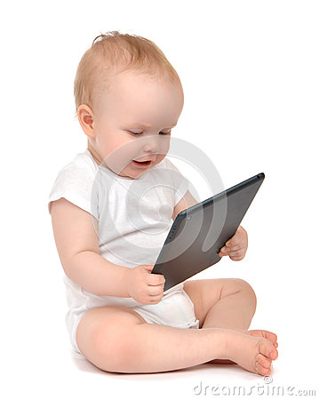 Free Infant Child Baby Toddler Sitting And Typing Digital Tablet Mobi Stock Photo - 57813580