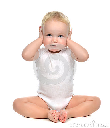 Free Infant Child Baby Toddler Sitting Closed Her Hands Over Ears And Royalty Free Stock Image - 50676346