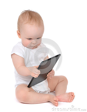Free Infant Child Baby Toddler Typing Digital Tablet Mobile Royalty Free Stock Photos - 40090528