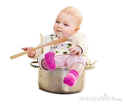 Infant in cooking pan