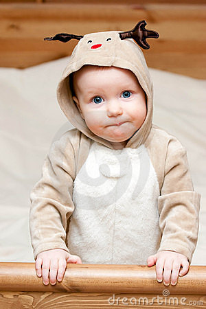 Infant in deer costume