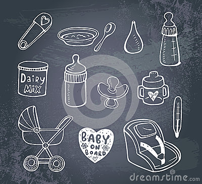 Free Infant Doodle Icon Set Royalty Free Stock Photography - 55105997