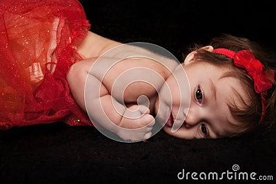 Infant Girl in Red
