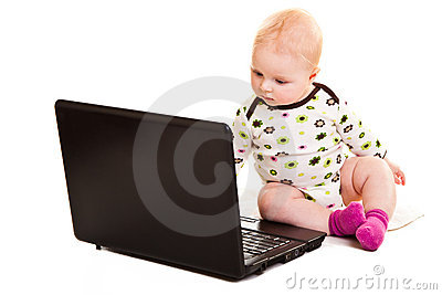 Infant with a notebook
