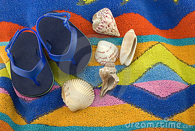 Infant Tiny Blue Sandals on Beach Towel