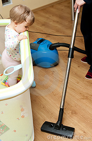 Infant and Vacuum Cleaner