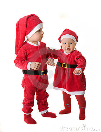 Infants in the clothes of Santa Claus.