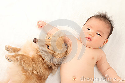 Infants and dog