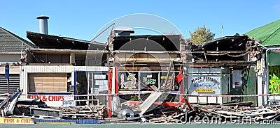 Infierno para llevar, daño del terremoto de Christchurch Fotografía editorial