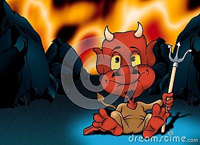 Infierno y pequeño diablo rojo